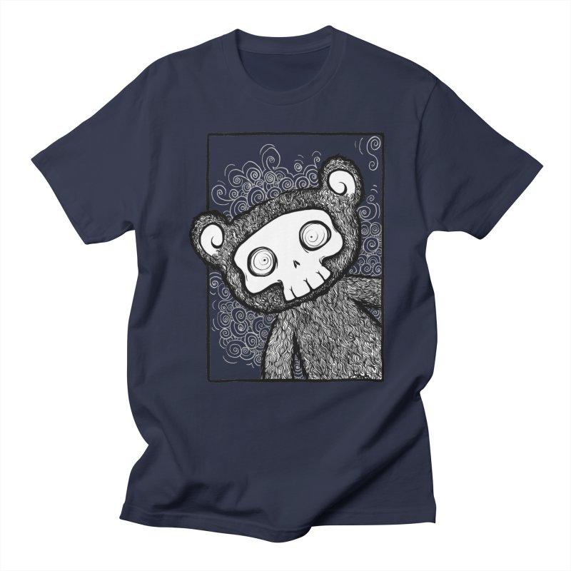 Skully Bear Gray Scale Women's Regular Unisex T-Shirt by SkullyFlower's Sweetly Creepy Tees