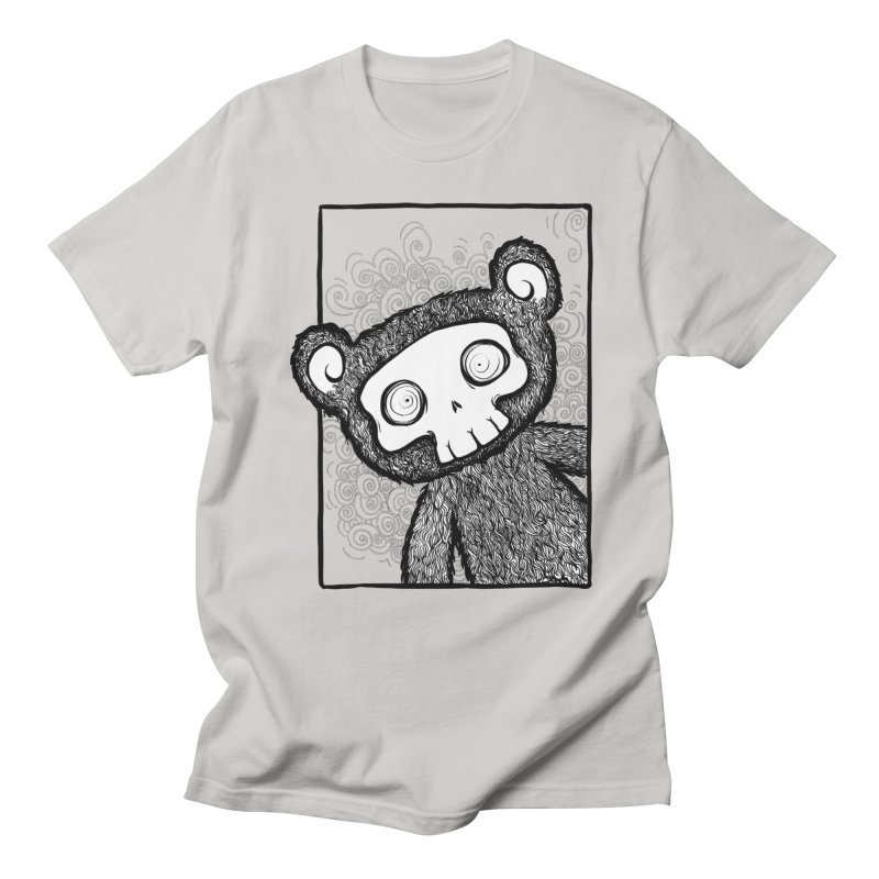 Skully Bear Gray Scale Men's Regular T-Shirt by SkullyFlower's Sweetly Creepy Tees