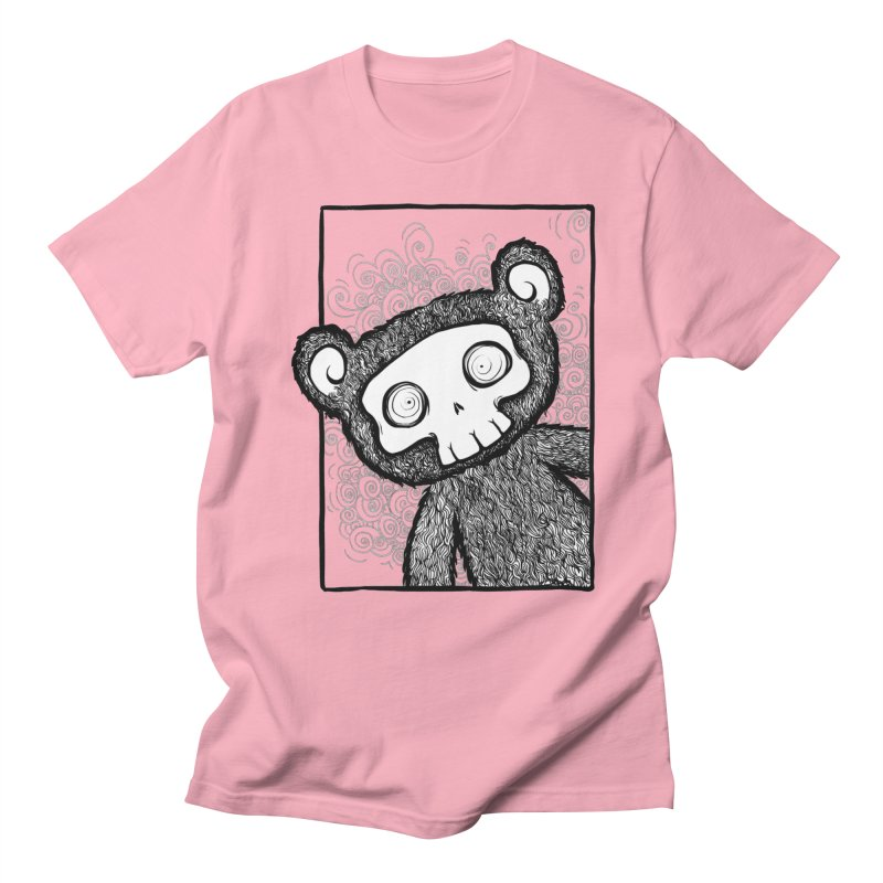 Skully Bear Gray Scale Men's Regular T-Shirt by SkullyFlower's Sweetly Creepy Tees