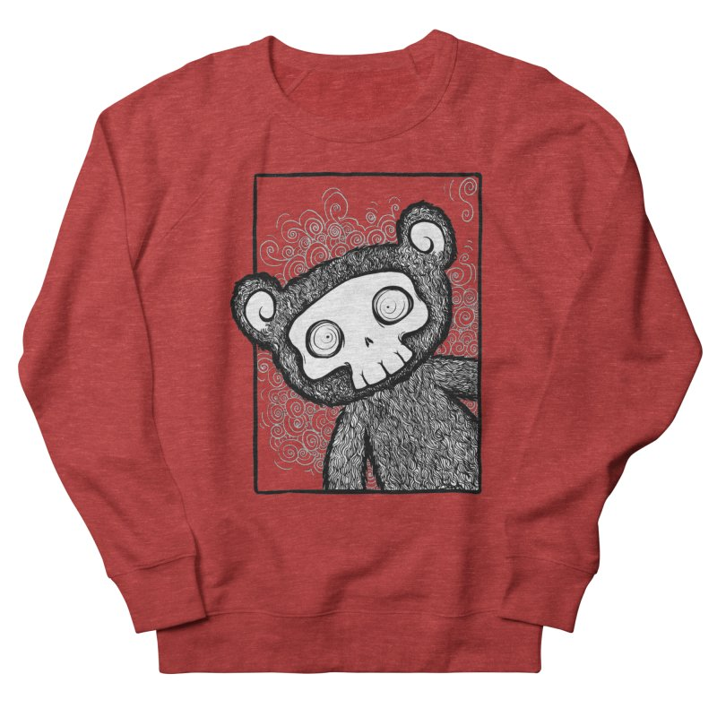 Skully Bear Gray Scale Women's French Terry Sweatshirt by SkullyFlower's Sweetly Creepy Tees
