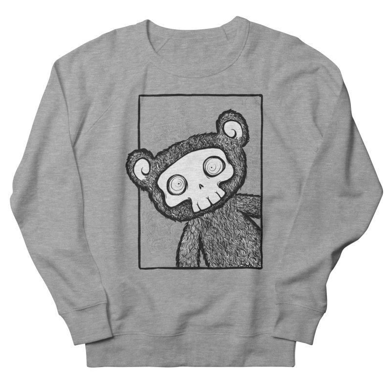 Skully Bear Gray Scale Men's French Terry Sweatshirt by SkullyFlower's Sweetly Creepy Tees