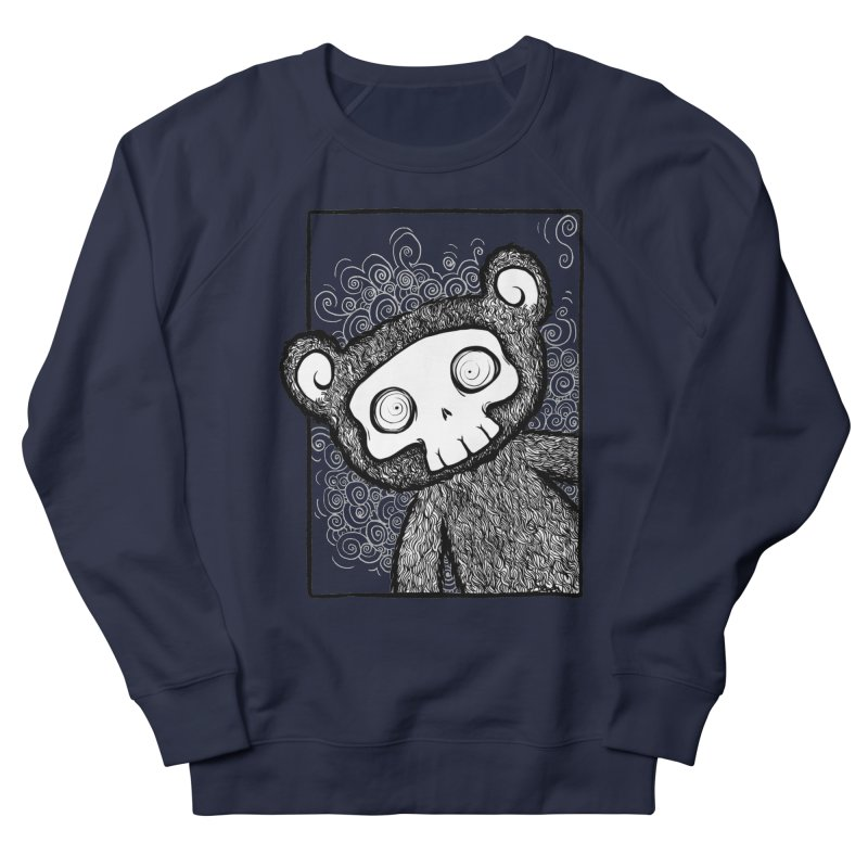 Skully Bear Gray Scale Men's French Terry Sweatshirt by SkullyFlower's Sweetly Creepy Tees