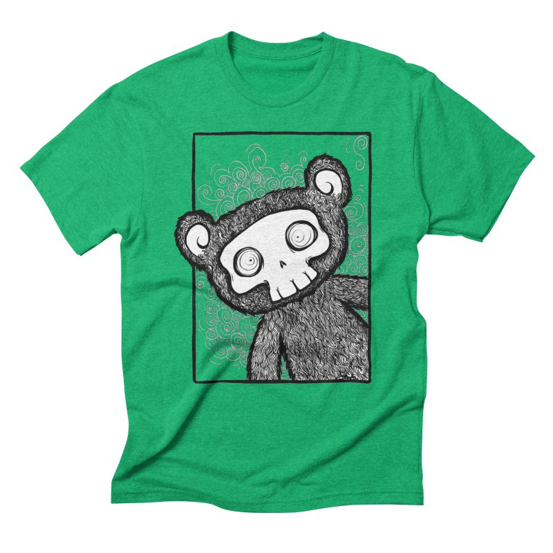 Skully Bear Gray Scale Men's Triblend T-Shirt by SkullyFlower's Sweetly Creepy Tees