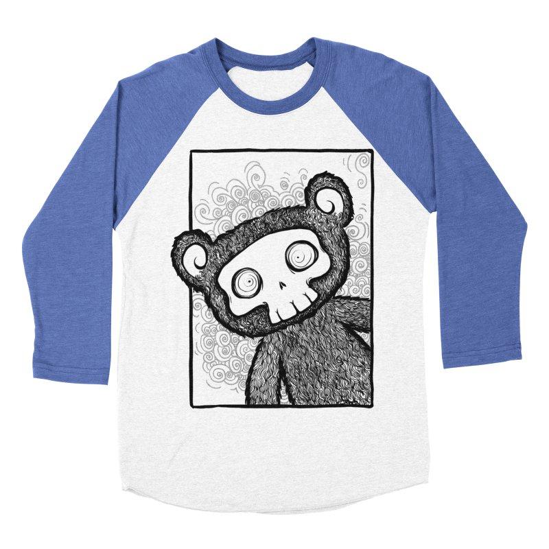 Skully Bear Gray Scale Women's Baseball Triblend T-Shirt by SkullyFlower's Sweetly Creepy Tees