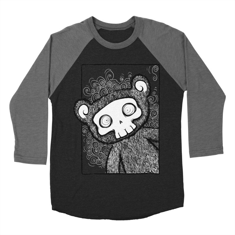 Skully Bear Gray Scale Women's Baseball Triblend Longsleeve T-Shirt by SkullyFlower's Sweetly Creepy Tees