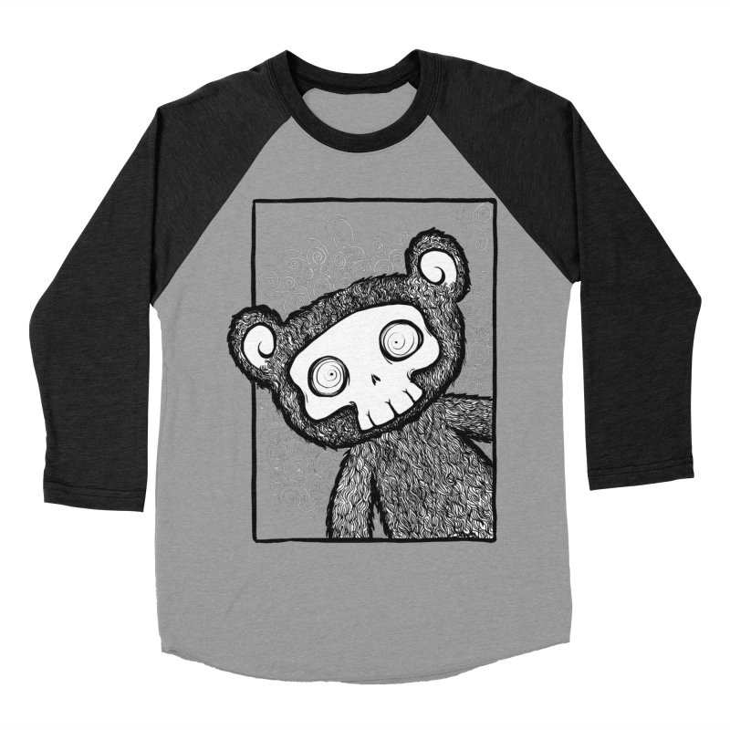 Skully Bear Gray Scale Women's Baseball Triblend T-Shirt by SkullyFlower's Sweetly Creepy Tees