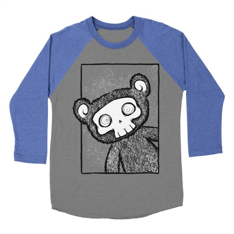 Skully Bear Gray Scale Men's Baseball Triblend T-Shirt by SkullyFlower's Sweetly Creepy Tees