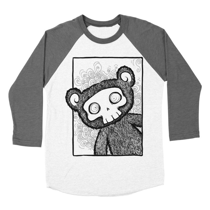 Skully Bear Gray Scale Men's Baseball Triblend T-Shirt by SkullyFlower's Sweetly Creepy Tees