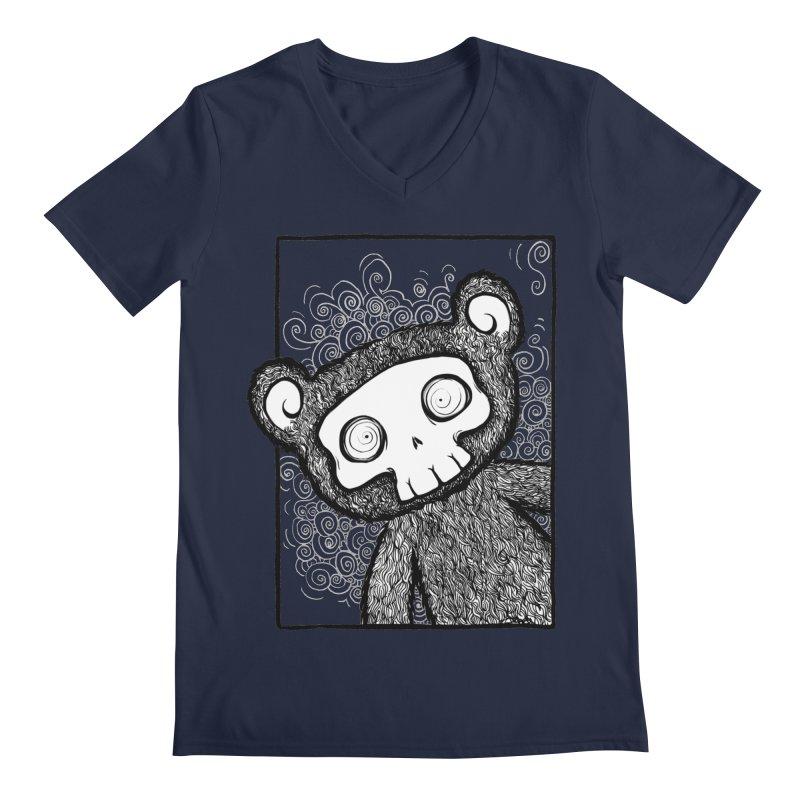Skully Bear Gray Scale Men's Regular V-Neck by SkullyFlower's Sweetly Creepy Tees