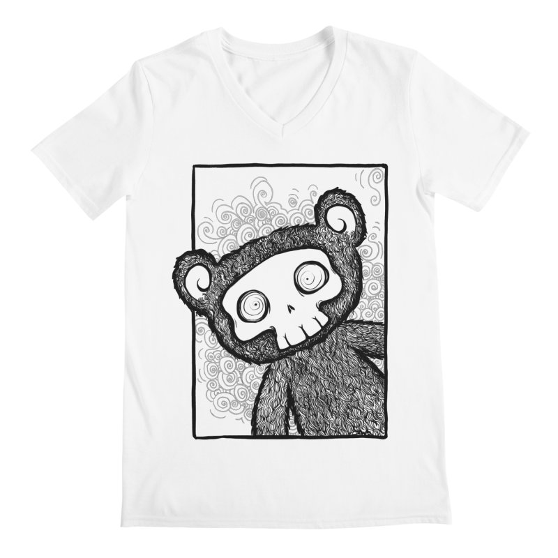 Skully Bear Gray Scale Men's V-Neck by SkullyFlower's Sweetly Creepy Tees