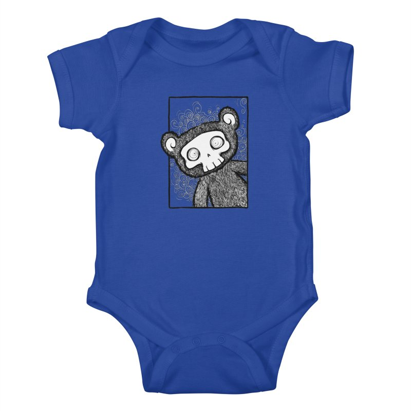 Skully Bear Gray Scale Kids Baby Bodysuit by SkullyFlower's Sweetly Creepy Tees