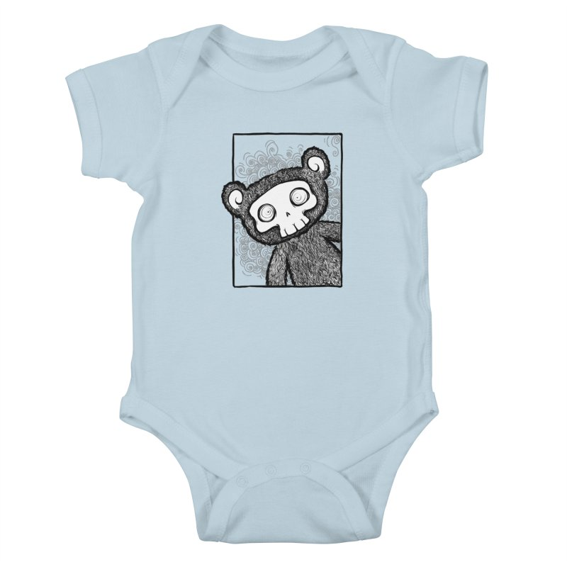 Skully Bear Gray Scale Kids Baby Bodysuit by SkullyFlower's Sweetly Creepy Tees