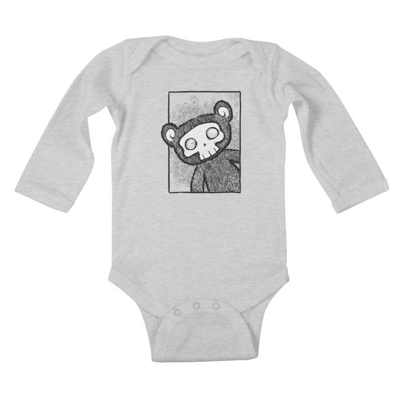 Skully Bear Gray Scale Kids Baby Longsleeve Bodysuit by SkullyFlower's Sweetly Creepy Tees
