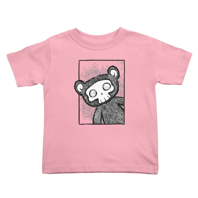 Skully Bear Gray Scale Kids Toddler T-Shirt by SkullyFlower's Sweetly Creepy Tees