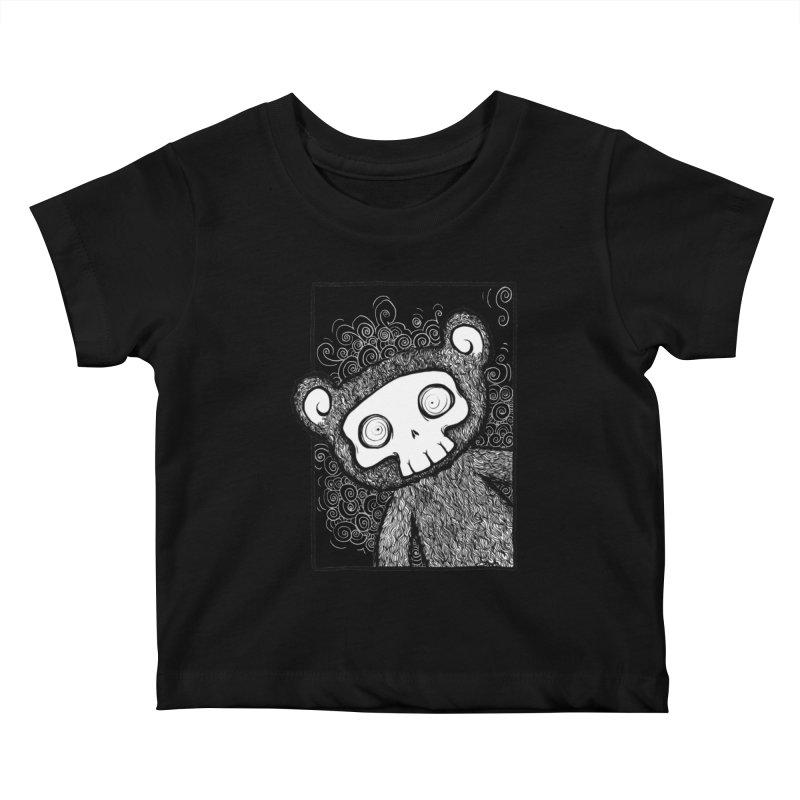 Skully Bear Gray Scale Kids Baby T-Shirt by SkullyFlower's Sweetly Creepy Tees