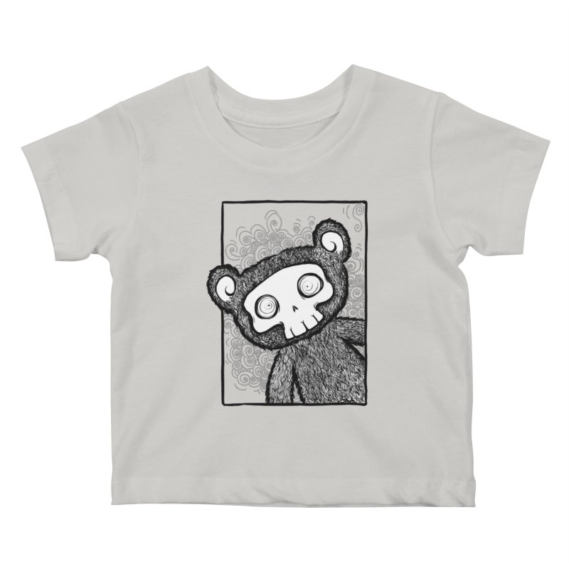 Skully Bear Gray Scale Kids Baby T-Shirt by SkullyFlower's Sweetly Creepy Tees