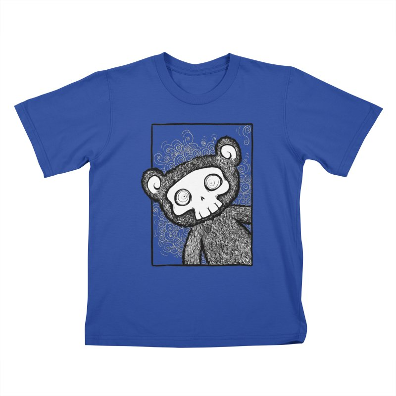 Skully Bear Gray Scale Kids T-shirt by SkullyFlower's Sweetly Creepy Tees