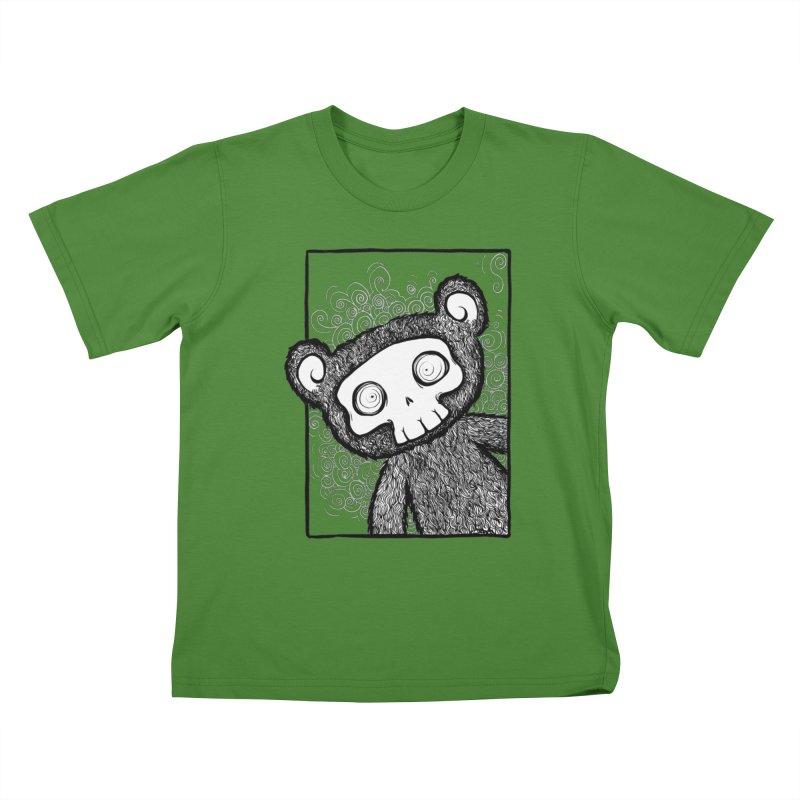 Skully Bear Gray Scale Kids T-Shirt by SkullyFlower's Sweetly Creepy Tees