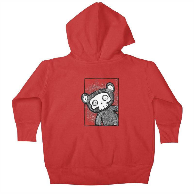 Skully Bear Gray Scale Kids Baby Zip-Up Hoody by SkullyFlower's Sweetly Creepy Tees