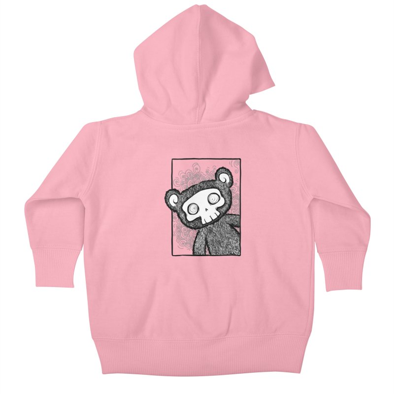 Skully Bear Gray Scale Kids Baby Zip-Up Hoody by SkullyFlower's Sweetly Creepy Tees