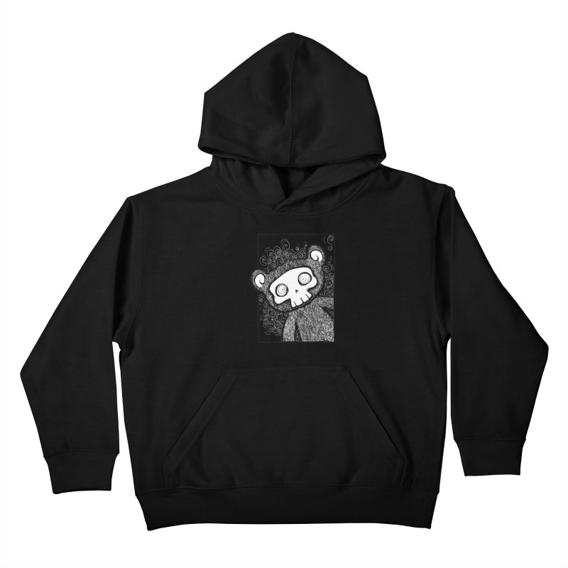 Skully Bear Gray Scale Kids Pullover Hoody by SkullyFlower's Sweetly Creepy Tees
