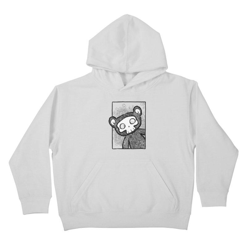 Skully Bear Gray Scale Kids Pullover Hoody by SkullyFlower's Sweetly Creepy Tees