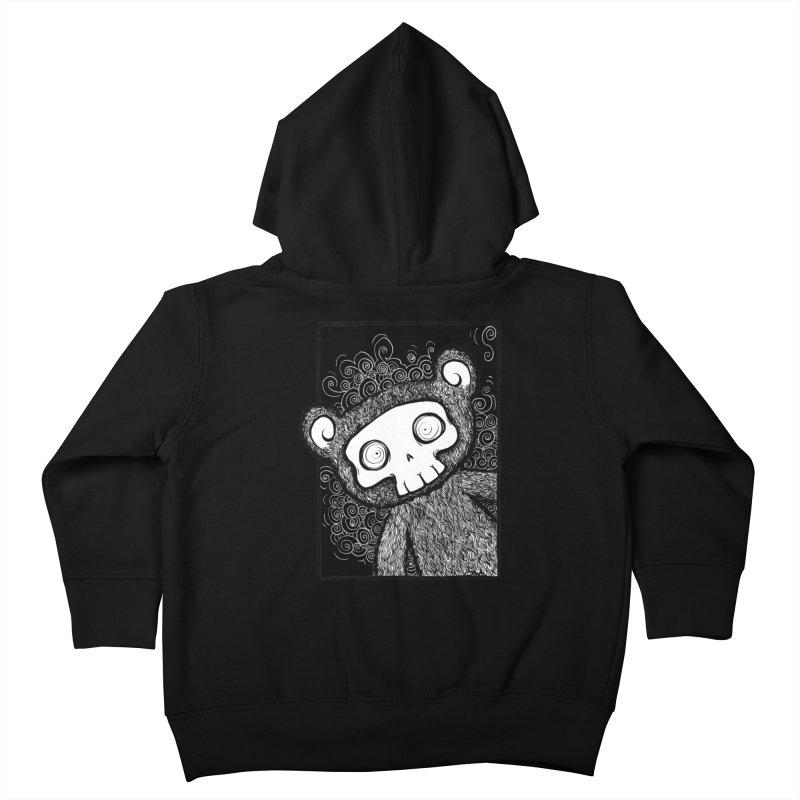 Skully Bear Gray Scale Kids Toddler Zip-Up Hoody by SkullyFlower's Sweetly Creepy Tees