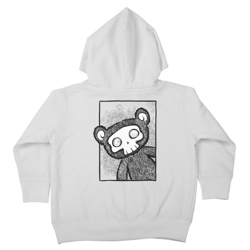 Skully Bear Gray Scale Kids Toddler Zip-Up Hoody by SkullyFlower's Sweetly Creepy Tees
