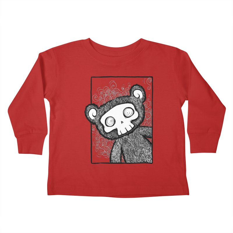 Skully Bear Gray Scale Kids Toddler Longsleeve T-Shirt by SkullyFlower's Sweetly Creepy Tees