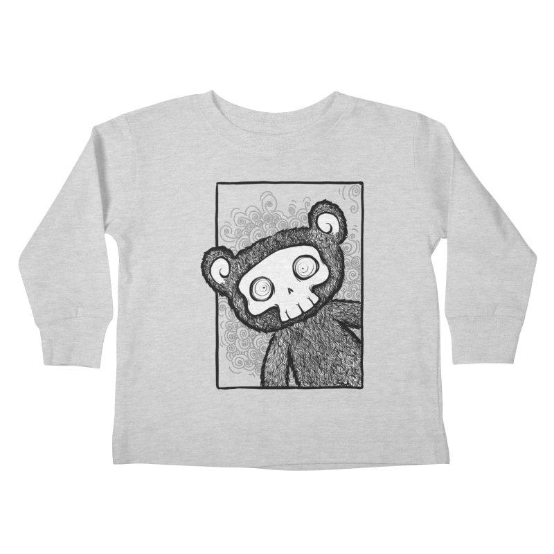 Skully Bear Gray Scale Kids Toddler Longsleeve T-Shirt by SkullyFlower's Sweetly Creepy Tees