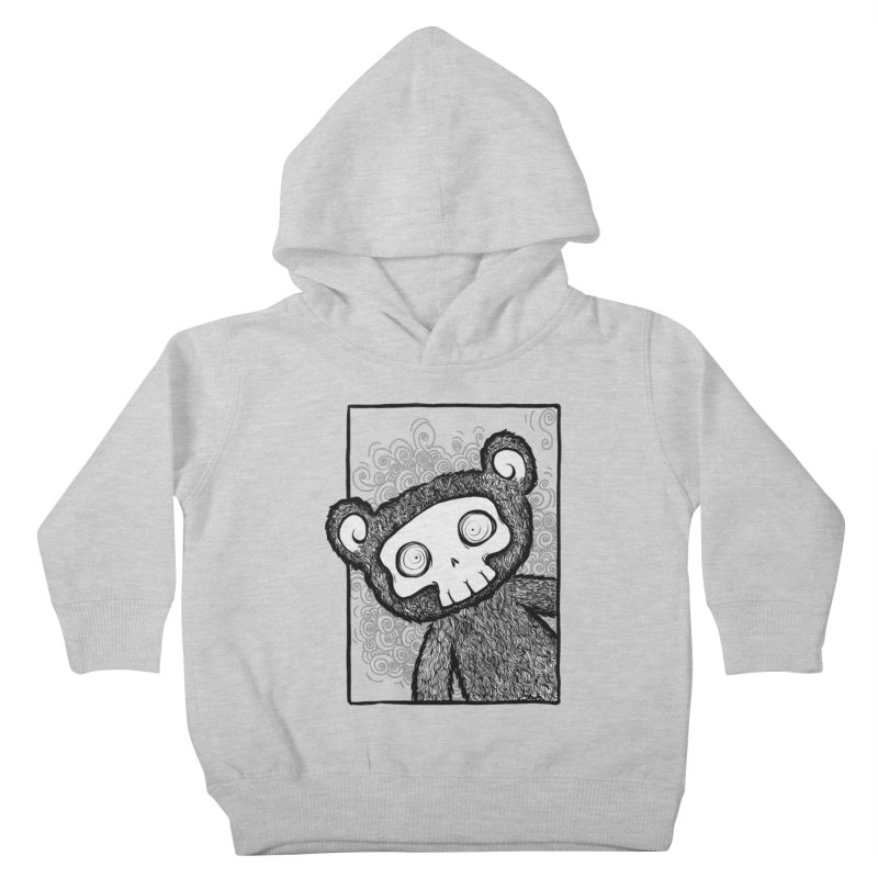 Skully Bear Gray Scale Kids Toddler Pullover Hoody by SkullyFlower's Sweetly Creepy Tees