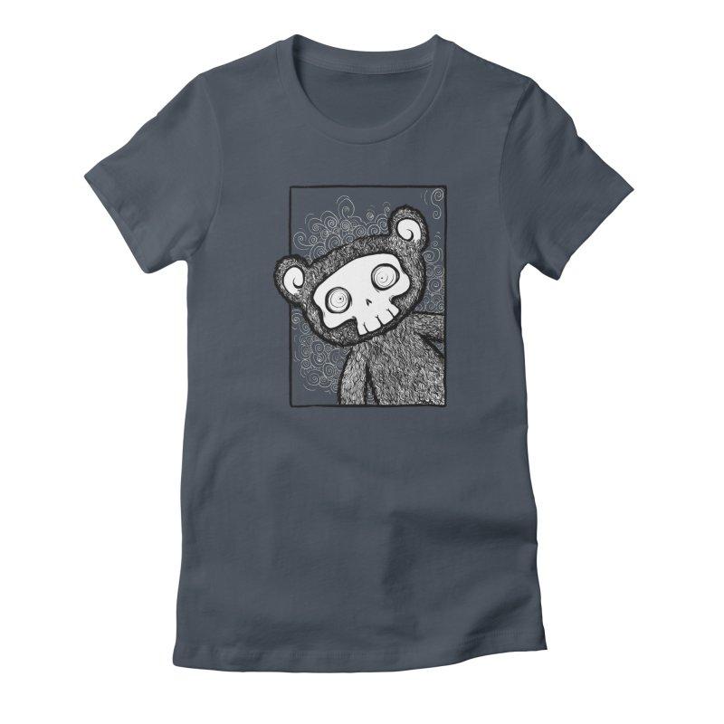 Skully Bear Gray Scale Women's T-Shirt by SkullyFlower's Sweetly Creepy Tees