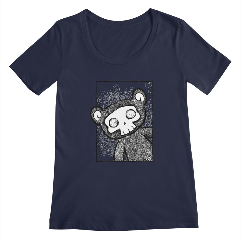 Skully Bear Gray Scale Women's Regular Scoop Neck by SkullyFlower's Sweetly Creepy Tees