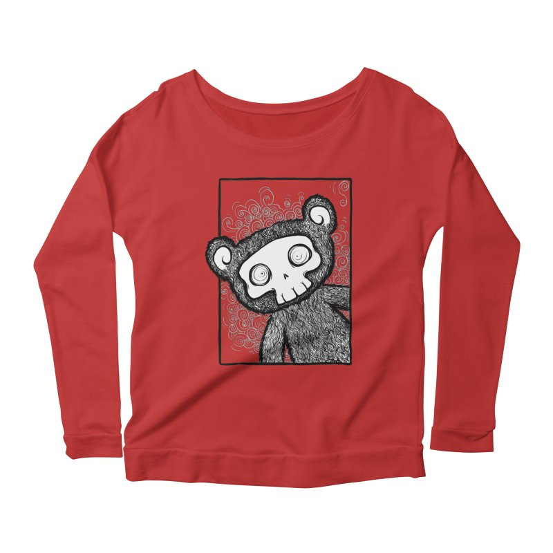 Skully Bear Gray Scale Women's Longsleeve Scoopneck  by SkullyFlower's Sweetly Creepy Tees