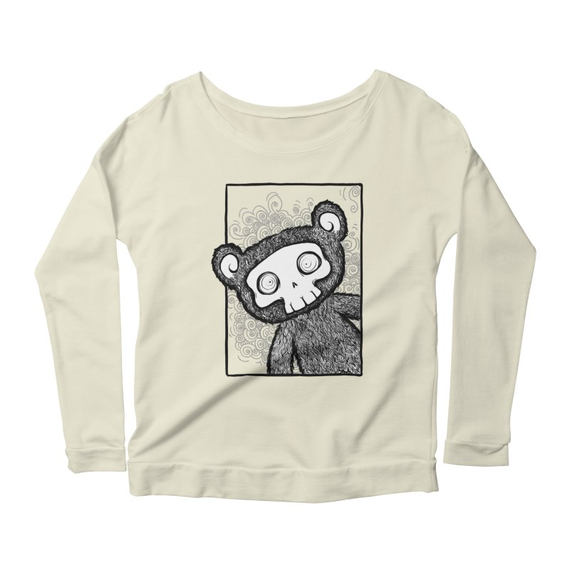 Skully Bear Gray Scale Women's Scoop Neck Longsleeve T-Shirt by SkullyFlower's Sweetly Creepy Tees