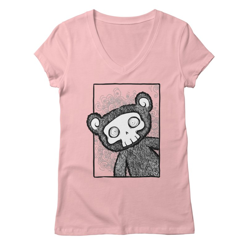 Skully Bear Gray Scale Women's Regular V-Neck by SkullyFlower's Sweetly Creepy Tees