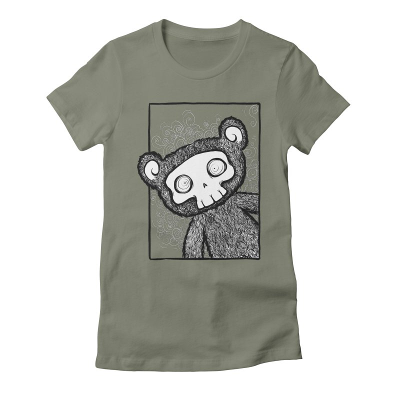 Skully Bear Gray Scale Women's Fitted T-Shirt by SkullyFlower's Sweetly Creepy Tees