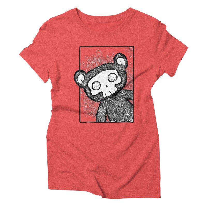 Skully Bear Gray Scale Women's Triblend T-Shirt by SkullyFlower's Sweetly Creepy Tees