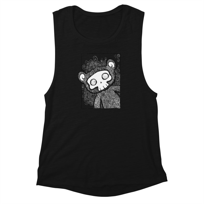 Skully Bear Gray Scale Women's Muscle Tank by SkullyFlower's Sweetly Creepy Tees