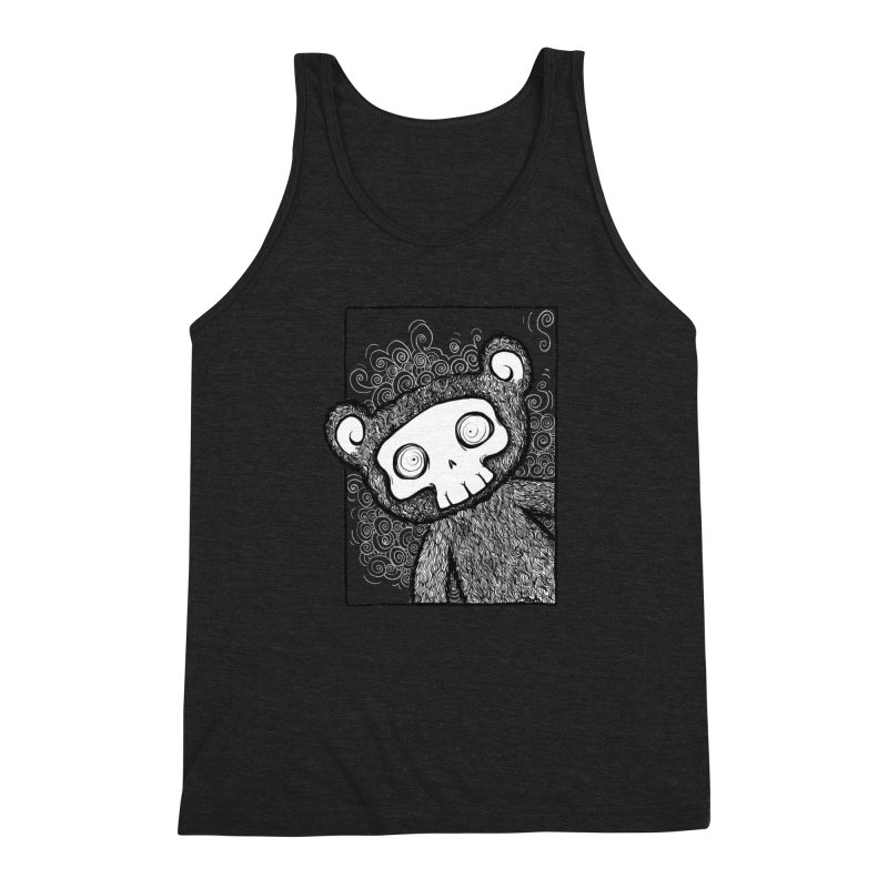 Skully Bear Gray Scale Men's Triblend Tank by SkullyFlower's Sweetly Creepy Tees