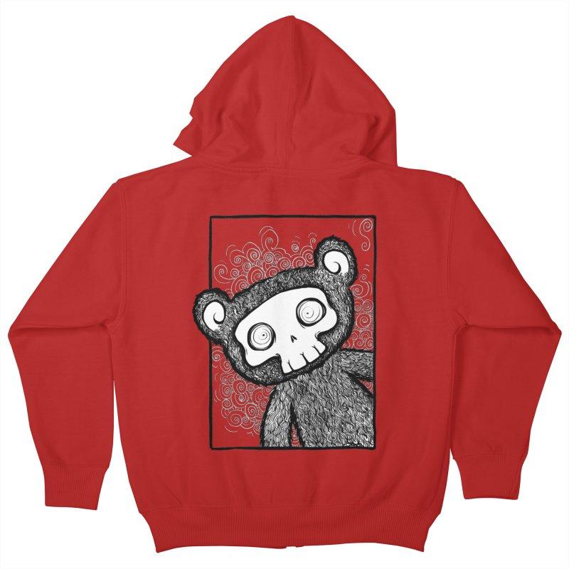 Skully Bear Gray Scale Kids Zip-Up Hoody by SkullyFlower's Sweetly Creepy Tees