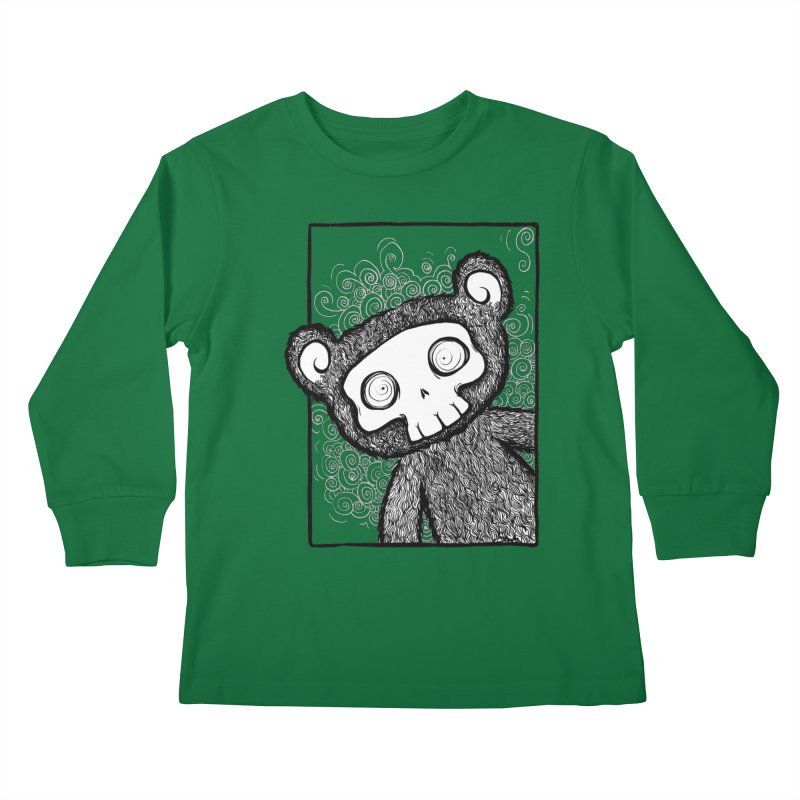 Skully Bear Gray Scale Kids Longsleeve T-Shirt by SkullyFlower's Sweetly Creepy Tees