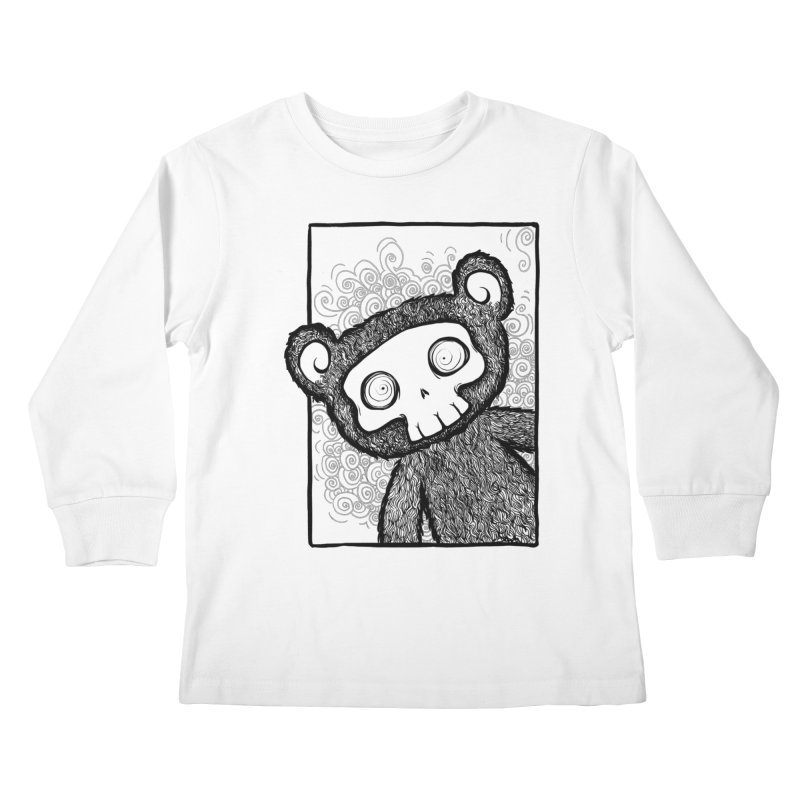Skully Bear Gray Scale Kids Longsleeve T-Shirt by SkullyFlower's Sweetly Creepy Tees