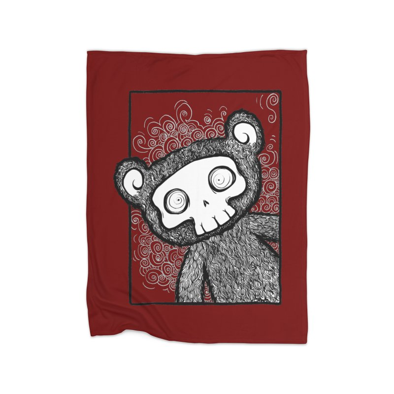 Skully Bear Gray Scale Home Blanket by SkullyFlower's Sweetly Creepy Tees