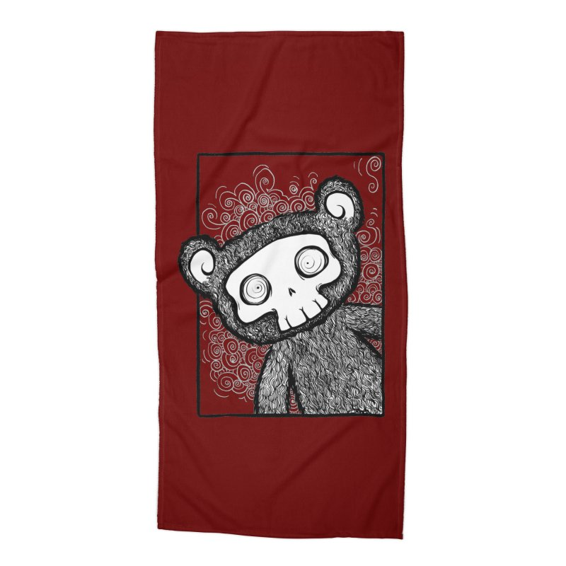 Skully Bear Gray Scale Accessories Beach Towel by SkullyFlower's Sweetly Creepy Tees
