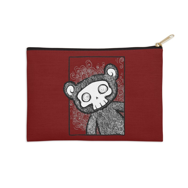 Skully Bear Gray Scale Accessories Zip Pouch by SkullyFlower's Sweetly Creepy Tees