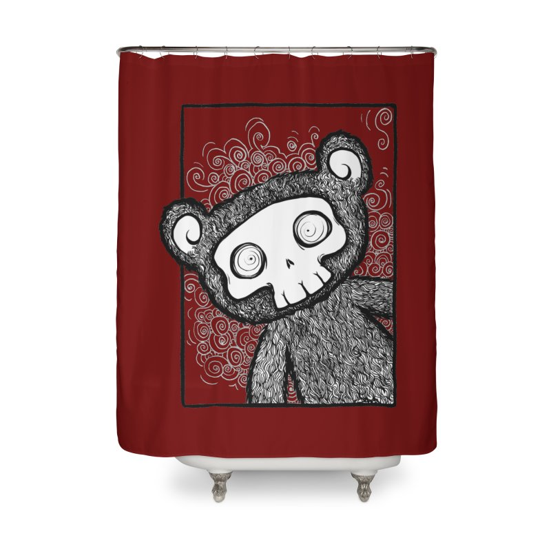 Skully Bear Gray Scale Home Shower Curtain by SkullyFlower's Sweetly Creepy Tees