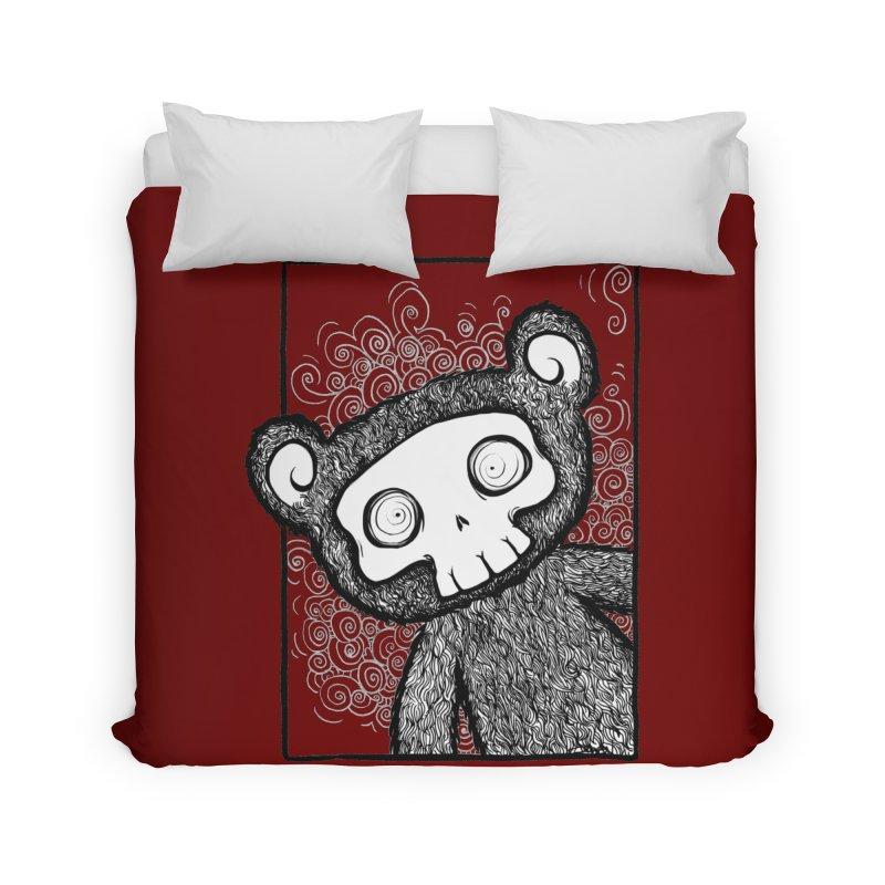 Skully Bear Gray Scale Home Duvet by SkullyFlower's Sweetly Creepy Tees