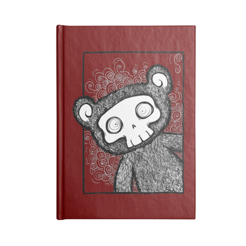 Skully Bear Gray Scale Accessories Blank Journal Notebook by SkullyFlower's Sweetly Creepy Tees