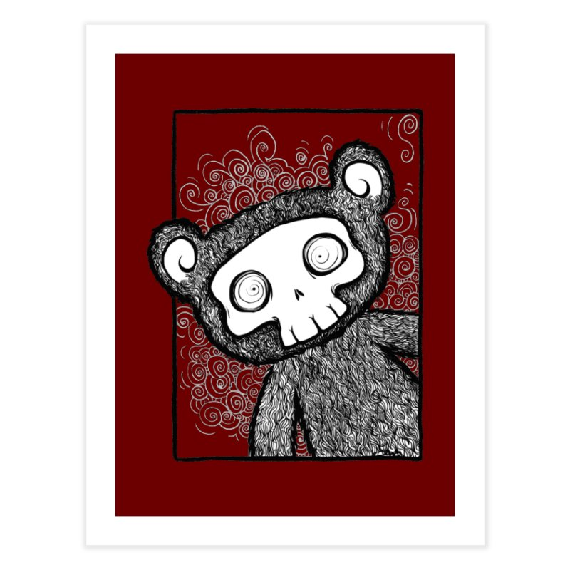 Skully Bear Gray Scale Home Fine Art Print by SkullyFlower's Sweetly Creepy Tees